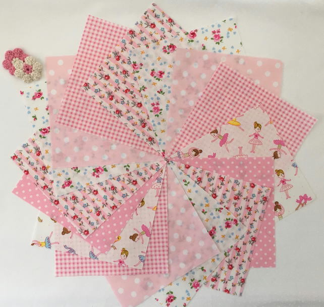 "48 x 5"" Squares Charm Pack Craft Patchwork Quilting Girl Nursery Ballerina Pinks"