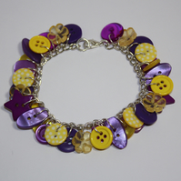 Yellow and Purple button charm bracelet FREE UK SHIPPING