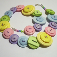 Pastels - Green, Pink, Lilac, Yellow & Blue button necklace FREE UK SHIPPING
