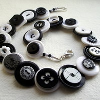 Winter - Black and White button necklace