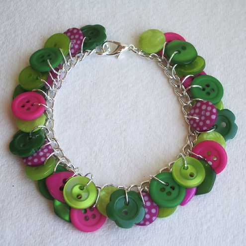 Lime, hot pink and green button charm bracelet