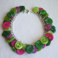 Lime, hot pink and green button charm bracelet FREE UK SHIPPING