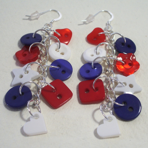 Red, white & blue button sterling silver drop dangle earrings