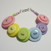 Pastels - Green, Pink, Lilac, Yellow & Blue button bracelet FREE UK SHIPPING