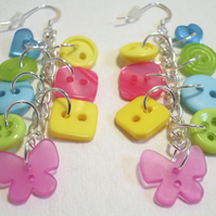 Lime,Pink,Yellow & Aqua button sterling silver drop earrings FREE UK SHIPPING