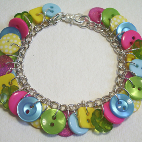 Lime Green, Hot Pink, Yellow & Aqua button charm bracelet FREE UK SHIPPING