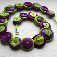 Purple and Lime Green button necklace FREE UK SHIPPING