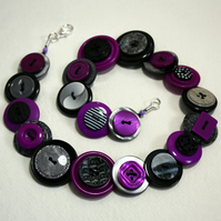 Purple, Black and GreyGray button necklace FREE UK SHIPPING
