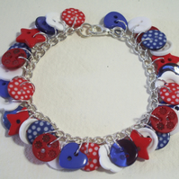 Red, White and Blue button charm bracelet FREE UK SHIPPING