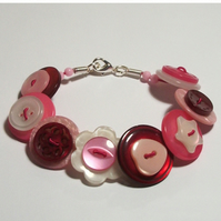 Cherry, Pink, Hot Pink and Pearlescent button bracelet