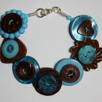Brown, Aqua and Teal button bracelet FREE UK SHIPPING