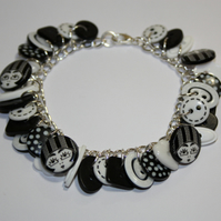 Black and White button charm bracelet