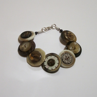 Coffee and Cream button bracelet