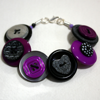 Purple, Black and Grey/Gray button bracelet FREE UK SHIPPING