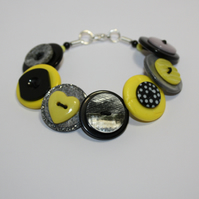 Yellow, Grey/Gray and Black button bracelet  FREE UK SHIPPING