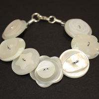 Pearlescent button bracelet FREE UK SHIPPING