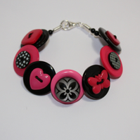 Hot pink and black button bracelet FREE UK SHIPPING