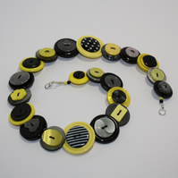 Yellow, Grey/Gray and Black button necklace