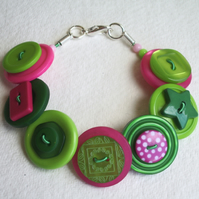 Lime, hot pink and green button bracelet FREE UK SHIPPING