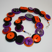 Orange, Black and Purple button necklace FREE UK SHIPPING