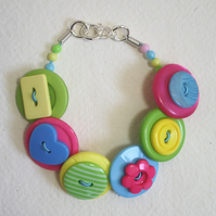 Lime Green, Hot Pink, Yellow and Aqua button bracelet