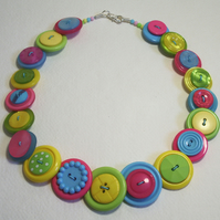 Lime Green, Hot Pink, Yellow and Aqua button necklace