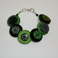 Green and Black button bracelet