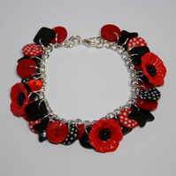 Poppies - black and red button charm bracelet