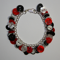 Red, Black and White button charm bracelet