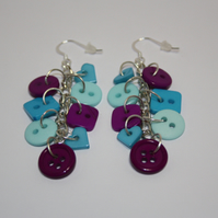 Teal, Aqua and Purple button sterling silver drop earrings