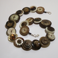 Coffee and Cream button necklace