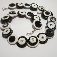 Black and White button necklace