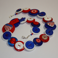 Red, white and blue button necklace