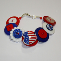 Red, white and blue button bracelet