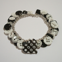 Heart - Black and white button charm bracelet