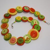 Citrus - Yellow, Lime and Orange button necklace