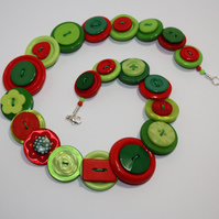 Red, Green and Lime button necklace
