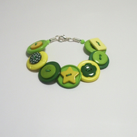 'Lemon & Lime' - Yellow, Green and Lime button bracelet