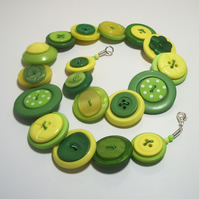 'Lemon & Lime' - Yellow, Green and Lime button necklace