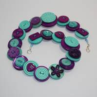 Purple and Aqua Green button necklace - Free UK shipping