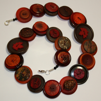 Autumn- cherry red, brown and burnt orange button necklace