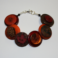 Autumn- cherry red, brown and burnt orange button bracelet