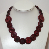 Cherry coloured button necklace