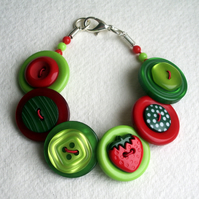 Summer - Strawberries - Green, Red and Lime button bracelet FREE UK SHIPPING
