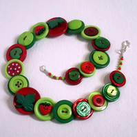 Summer - Strawberries - Green, Red and Lime button necklace FREE UK SHIPPING