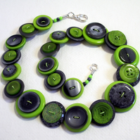 Winter - Lime Green and Grey Button Necklace