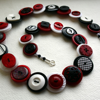 Red, Black and White Button Necklace