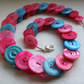 Hot pink, Pale pink and Aquamarine button necklace