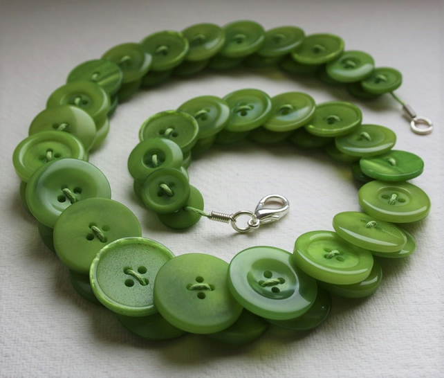 Lime Green Button Necklace