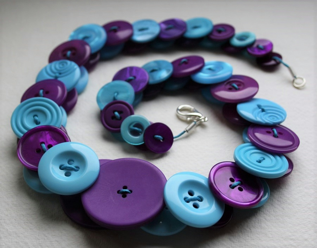 Aquamarine and Purple Button Necklace
